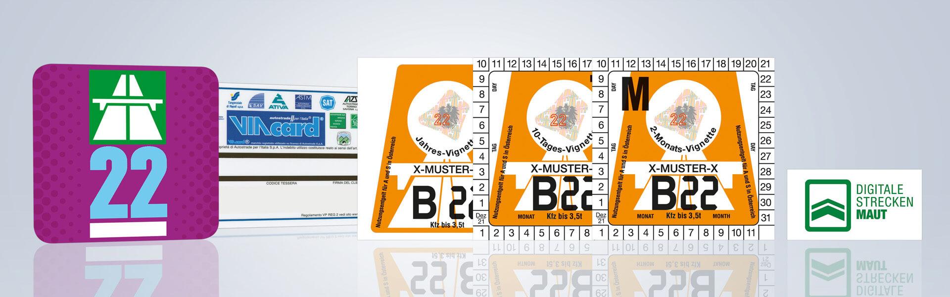 Vignette, digitale Streckenmaut und ViaCard